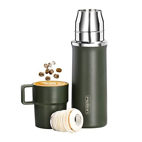 Frasco de vacío de viaje de 600 ml, termo de agua para café, taza con tapa incorporada, acero inoxidable, taza térmica para té, botellas deportivas, verde