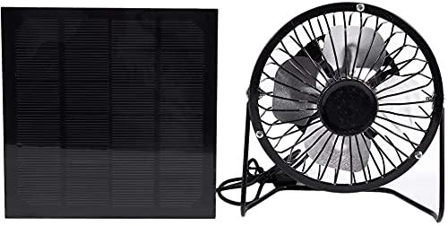 HTOUR Ventilador de ventilación de refrigeración de 4 Pulgadas Ventilador de Hierro de Panel con energía Solar USB para la Oficina en el hogar Viajar al Aire Libre Pesca