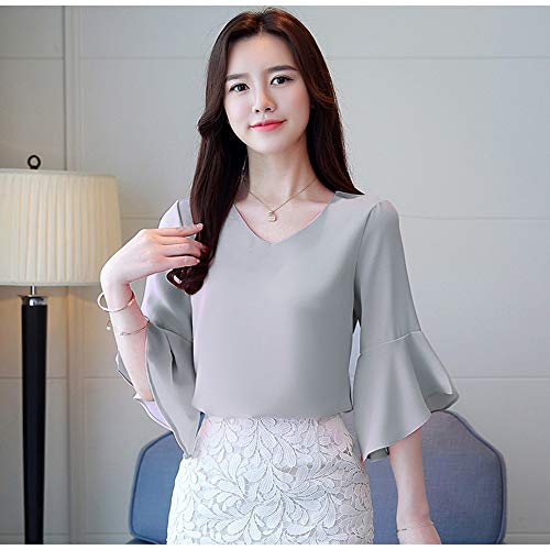 NSSYL Damesblouse fee lente vrouwen elegante blouse lange mouwen met ruches Slim Solid