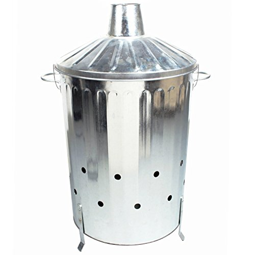 CrazyGadget 90 Litre 90L Extra Large Galvanised Metal Incinerator Fire Burning Bin with Special Locking Lid