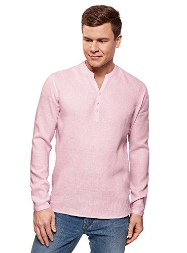 oodji Ultra Hombre Camisa de Lino sin Cuello, Rosa, 52-54