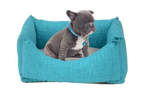 PUPY CUCCIA Cane Interno, Artigianale, 45X60cm, Letto per Cani taglia piccola, Cuccetta per Cani e gatti, Cuccia morbida rilassante (45x60, TURQUOISE)