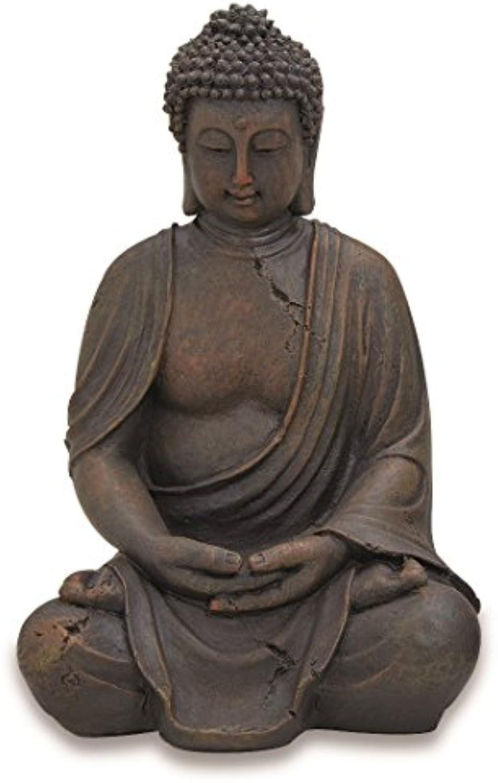Buddha Figur sitzend 30cm in Braun  Deko-Artikel für Haus & Garten  Buddha-Skulptur, Wohnaccessoire ideal als Geschenk  Buddha-Statue Feng Shui Dekoration  Garten-Figur