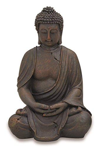 Buddha Figur sitzend 30cm in Braun | Deko-Artikel für Haus & Garten | Buddha-Skulptur, Wohnaccessoire ideal als Geschenk | Buddha-Statue Feng Shui Dekoration | Garten-Figur