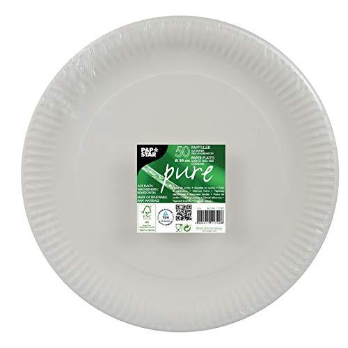 Papstar Pappteller / Einwegteller weiß, rund (50 Stück) aus 100% Frischfaserkarton, Durchmesser 29 cm, FSC-zertifiziert, lebensmittelecht, #11740