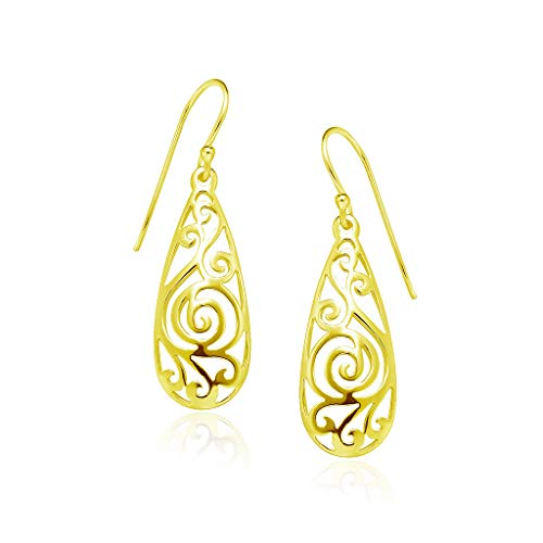 Big Apple Hoops - High Polish Sterling Silver Classic Filigree Teardrop Dangle Earrings Made from Solid 925 Sterling Silver in 3 Color Rose, Silver, Gold Special Fashion Gift for Teens, Women