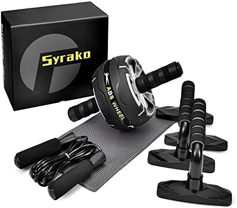 Syrako 5-in-1 AB Wheel Roller Kit with Push-Up Bar Jump Rope and Knee Pad for Men Women Abdominal Exercise – Ab Workout – Home Workout Equipment