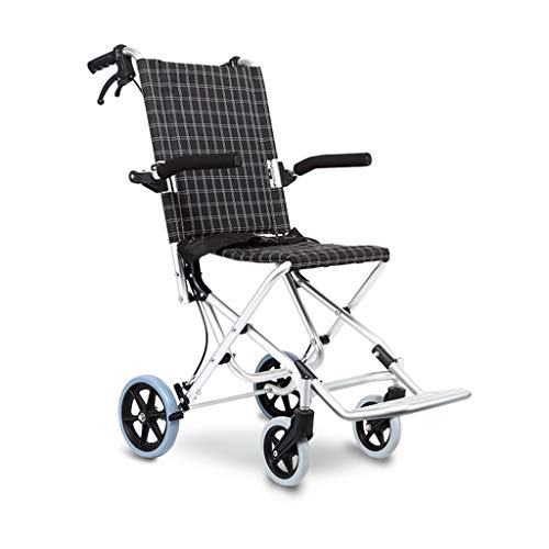 FREEDOH Folding Lightweight Wheelchairs for The Elderly, Ultra-Light Comfortable Portable Travel Wheelchairs for Children, Elderly Disabilities,Black