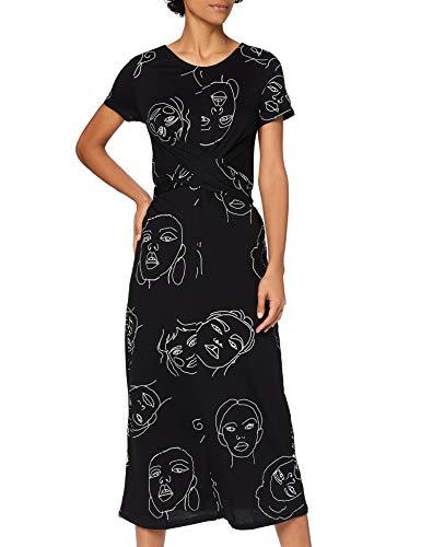 Marca Amazon - find. Vestido Estampado con Cinturón Anudado Mujer