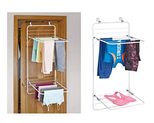 iDesign 39743EU Étendoir à vêtements pour buanderie et blanchisserie, Brezio Over Door-Double étagère, Blanc/Gris, Métal, 30,48 x 1,91 x 11,43 cm