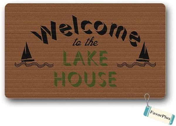 Decorative Doormat Welcome To The Lake House Entrance Outdoor Indoor Non Slip Decor Floor Door Mat Area Rug For Entrance 15 7x23 6 Inch