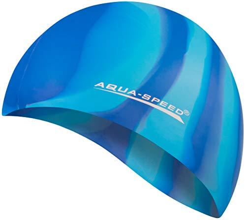 Aqua Speed reißfeste Badekappe | Damen Herren I Schwimmmütze für Kinder I Bademütze wasserdicht | Badehaube | Schwimmhaube | Silikonbadekappe I 16. Bunt + Kleines Mikrofasertuch - 64