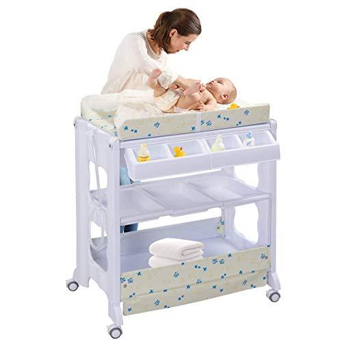 fasciatoio neonato con cassettiera COSTWAY Fasciatoio con Vaschetta per il Bagno Fasciatoio Bagnetto per Neonati
