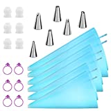 "Kasmoire Piping Bags and Tips,24pcs Cake Decorating Tools Sets with 6pcs 3 Sizes (12""+14""+16"") Reusable Icing Pastry Bags, 6 Different Icing Bags Tips, 6 Piping Bags Couplers and 6 Frosting Bags Ties"