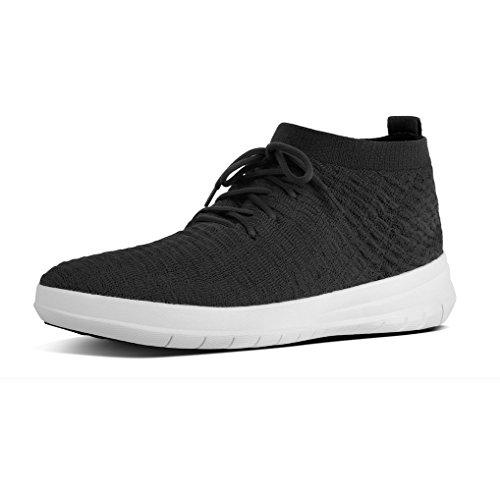 Fitflop Herren Uberknit Slip-on High Top Waffle Hohe Sneaker, Schwarz (Black 001), 44 EU