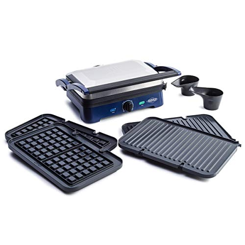 Blue Diamond Cookware Ceramic Nonstick Sizzle Griddle Deluxe, Griddle with Waffle and Grill Plates