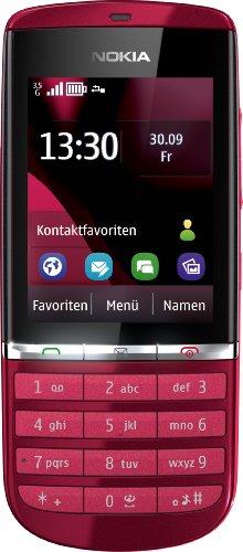Nokia Asha 300 Handy (6,1 cm (2,4 Zoll) Touchscreen, 5 Megapixel Kamera) rot
