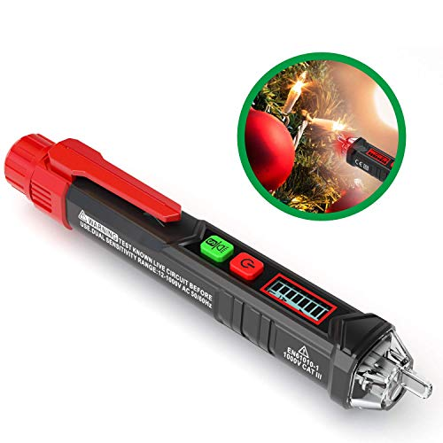 KAIWEETS Sensitive and Adjustable Non-contact Voltage Tester With LCD Display, LED Flashlight,...