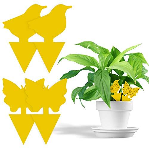 Fullsexy 60Pcs steckbare Fliegenfalle Tieremuster Ideal Gelbtafeln für Topfpflanze gegen trauermücken Blattläuse, Minierfliegen, Balkon, Garten, Innenraum MEHRWEG