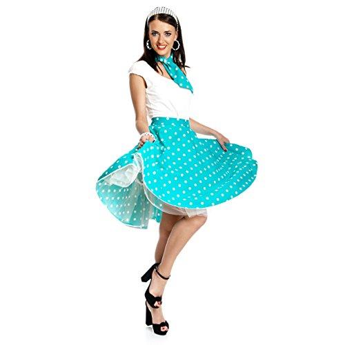 Kostümplanet® Rock-n Roll Rock Damen Kostüm 50-er Jahre Rockabilly Stil Mode Outfit blau weiß Gepunkteter Tellerrock Polka-dot Knielang mit Halstuch