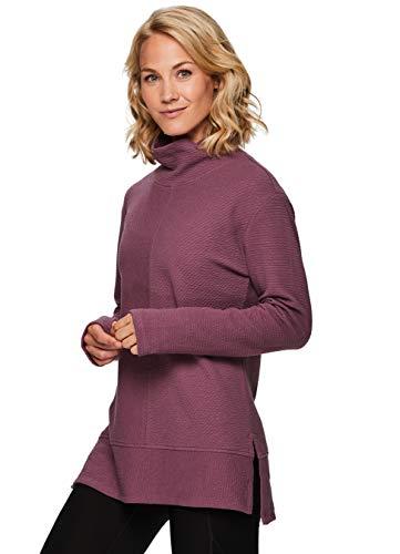 RBX Active Women's Quilted Lightweight Cowl Neck Tunic Pullover Sweatshirt F19 Dark Pink S