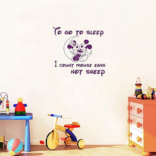 Stickers muraux Mickey et Minnie Mouse Sticker autocollant devis pour aller dormir bébé décor chambre fille garçons chambre de bébé décoration