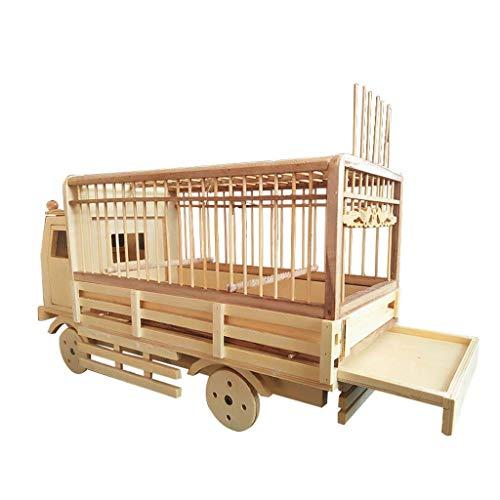 xilinshop Canarios Jaula Mascota Creative Bamboo Bird Cage Pet Supplies Rueda de Modelado de Coches deslizable para Loros y Canarios Jaulas para Loros