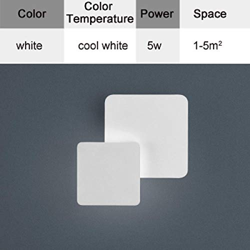 Wandlamp voor slaapkamer, woonkamer, vierkant, wit, corpus zwart, LED, wandlamp, draaibaar, metaal, zilverkleurig