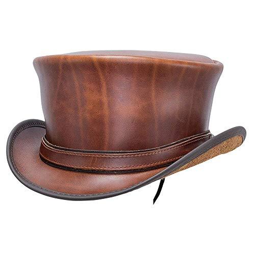 American Hat Makers Hampton Leather Top Hat for Men and Women — Cyprus Tan, Medium