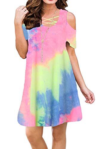Bluetime Women Plus Size Casual Summer Cold Shoulder Beach Dresses Cross Neck Tie Dye Sundresses S3XL XXL Floral11