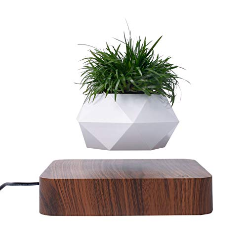 Magnetische Schwebende Bonsai, rotierender Magnetschwebebahn Blumentopf für Zuhause Büro Garten Dekoration (Dunkle Farbe)
