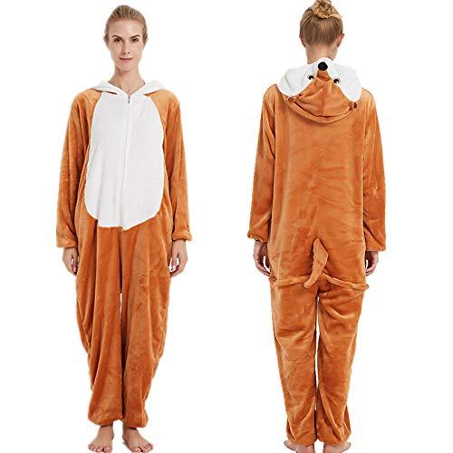 Pijama para Mujer Diseo De Animales Ropa De Casa para Dormir De Una Pieza, Disfraz De Cosplay para Fiesta Marrn Zorro