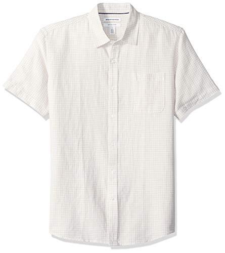 Amazon Essentials Herren-Hemd, Kurzarm, reguläre Passform, bedruckt, aus Leinen, Natural Gingham, US L (EU L)