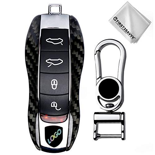 Negro Lujo Fibra de Carbon Coche Caso Dominante Alejado Bolsa Fob Protector Cubierta para Porsche 99
