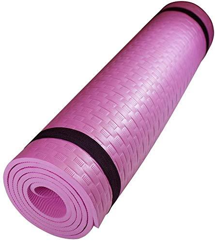 Marca Amazon Esterilla Yoga Espeso Antideslizante Alfombrilla de Yoga Espesor 8/10 mm Esterilla Pilates Esterilla Deporte con Correa de Hombro (Rosa)