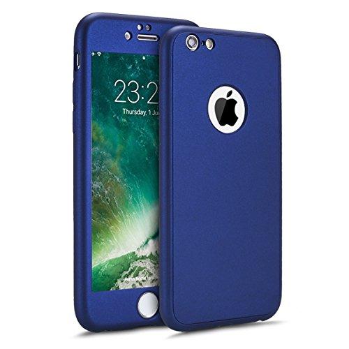 Etsue Coque 6S Plus,Coque iPhone 6 Plus Intégral 360 Degrés Complète Coque +Verre trempé Film Protection Coque Avant arrière Full Body Protection Silicone Gel Souple Etui Coque pour iPhone 6S/6 Plus.