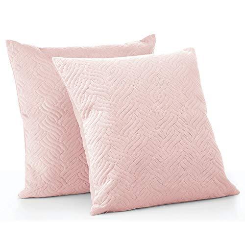 mDesign Juego de 2 fundas de cojín pespunteadas – Forro para cojines hipoalergénico de poliéster con aspecto de terciopelo – Suaves fundas decorativas para cojines de sofá sin relleno – rosa