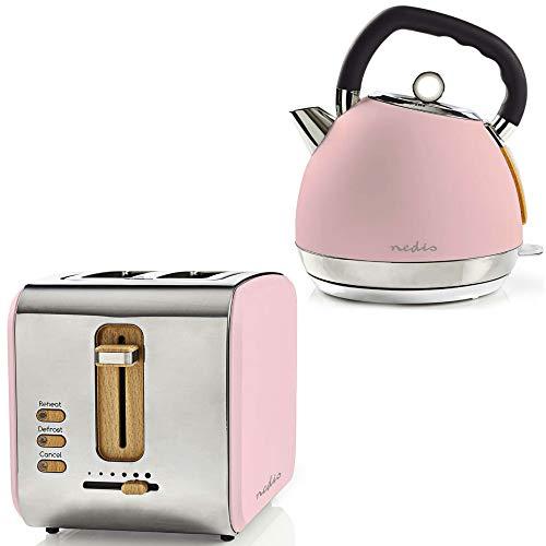 TronicXL Retro Design Frühstücksset Toaster + Wasserkocher Holz Design + Edelstahl rosa