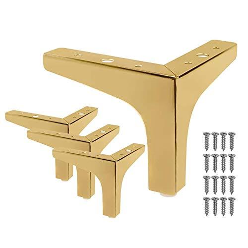 Gfhrisyty 4 Piezas Sofá de los Muebles del Estilo Moderno de las Patas de los Muebles de 4 Pulgadas Pies de Triple Esquina de Metal Dorado Rosa para Armario de Mesa