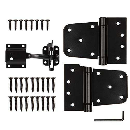 """HILLMASTER Heavy Duty Gate Latch Kit for Wooden Vinyl Fence, 1 Pack Self-Locking Gate Latch and 2 Pack 3.5"""" Spring Tee Hinges, Gate Fence Hardware Set, Black Finish"""