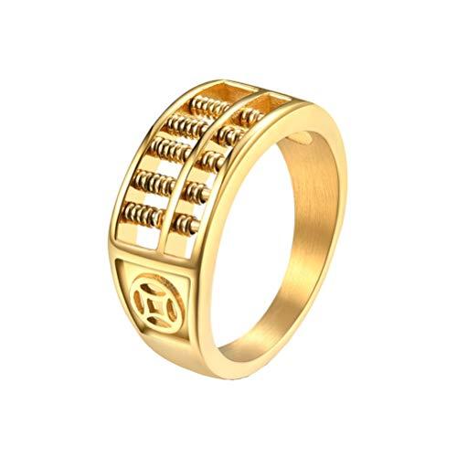 OAKKY Herren Jahrgang Gold Glücklich Drehung Abakus Biker Ring Edelstahls Mathematik Taschenrechner Gothic Kreativ Erklärung Größe 60 (19.1)