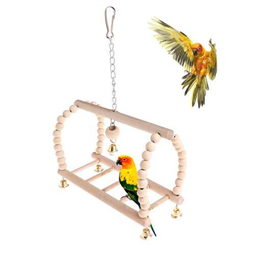 Yanhonin Jouet De Cage De Perroquet, Suspendu Balançoire Socle Suspendu Pont Cloche Corde Balançoire Oiseaux Jouets Cloche De Bois Perles, Petites Cages Perruche Accessoires Décoratifs