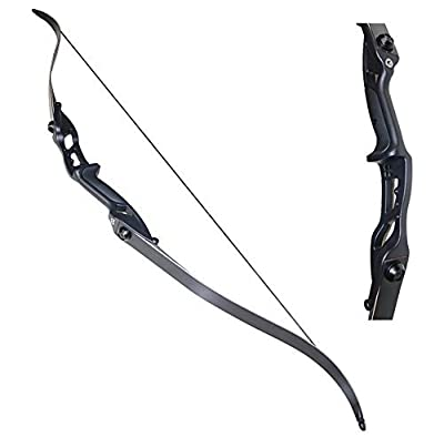 """TOPARCHERY Archery 56"""" Takedown Hunting Recurve Bow Metal Riser Right Hand Black Longbow (18)"""