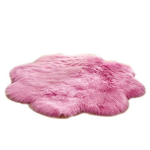 GladiolusA Faux Teppich,Flauschig Weiche Nachahmung Teppich Longhair Fell Optik Gemütliches Bettvorleger Sofa Matte Dunkelpink 90 * 90cm