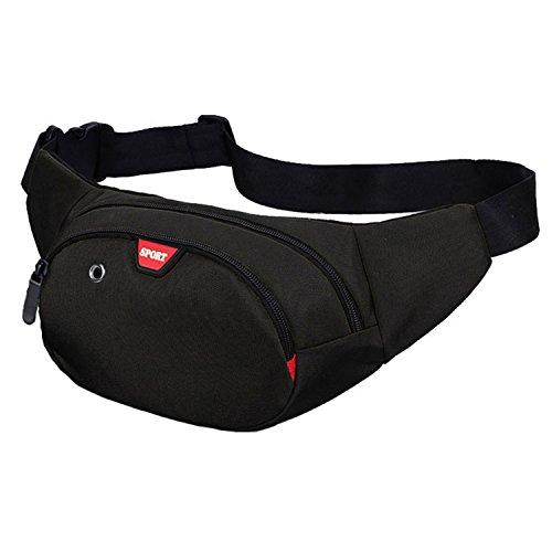 Resistente al agua riñonera bolsa de cintura 3 bolsillos con cremallera bolsa riñonera de viaje senderismo al aire libre deporte vacaciones dinero bolsa de cadera paquete (Negro)