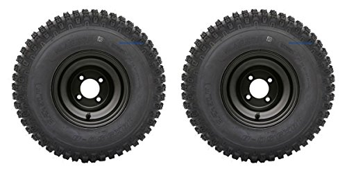 "Slasher Knobby 18x9.50-8"" Golf Cart Tires/ATV Tires and 8"" BLACK Steel Wheel Combo - Set of 2"
