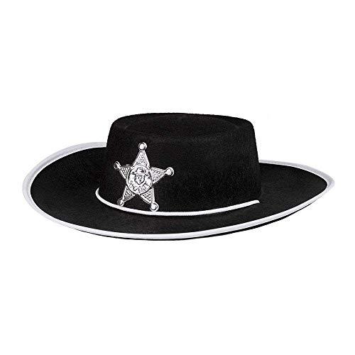 Boland 04030 - Kinderhut Sheriff schwarz, silberner Stern, Cowboy, Kordel, Karneval, Fasching, Halloween, Mottoparty, Verkleidung, Theater