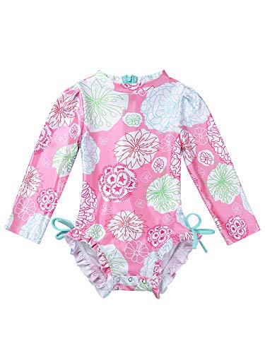 MSemis Traje de Baño Protección Solar para Bebé Niñas Bañador Estampado Flores Camiseta de Piscina Anti UV Manga Larga Ropa Una Pieza de Playa Rosa 18-24 Meses