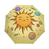 LIUBT - Sombrilla con diseño de planetas del espacio exterior con estrellas, 3 pliegues automáticos, cierre abierto, sol, lluvia, paraguas anti UV