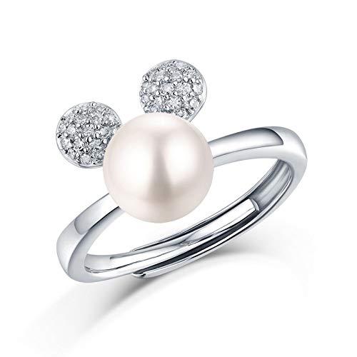 JIARU Anillo de plata de ley 925 para mujer, anillo de compromiso simple, anillo de perla moissanita anillo de boda para niña anillo de dedo abierto anillo de regalo
